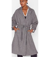 houndstooth or dare belted trench coat