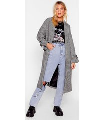 womens houndstooth or dare belted trench coat - black