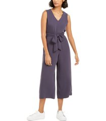 bar iii soft-crepe belted jumpsuit, created for macy's
