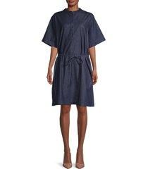 lacoste women's short-sleeve denim dress - rinse blue - size 40 (m)