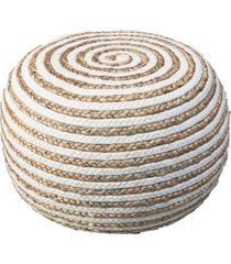 hand-knitted and braided pouf