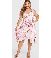 plus talla rosa impresión floral aleatoria cinturón diseño vestido