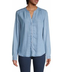 for the republic women's splitneck chambray shirt - tencel - size s