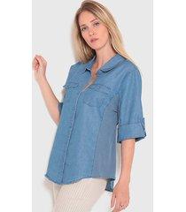 blusa wados 3/4 denim azul - calce holgado