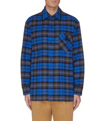 check print face patch pocket flannel shirt