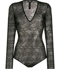dsquared2 sheer lace bodysuit - black