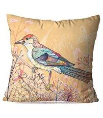 almofada avulsa decorativa passarinho marrom 35x35cm love decor