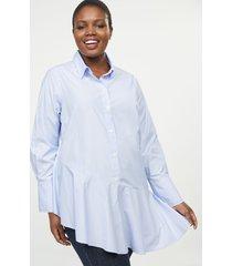 lane bryant women's asymmetrical button-front tunic 14/16 blue and white stripe