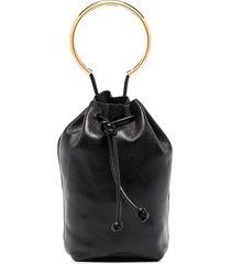 jil sander drawstring leather mini bag - black