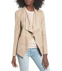 women's bb dakota wade drape front faux suede jacket, size large - beige
