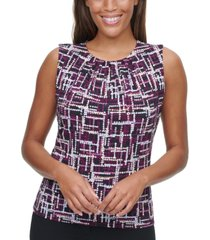 calvin klein petite pleated-neck abstract-print top