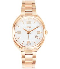 rose gold tone stainless steel bracelet watch