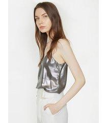 blusa metalizada con espalda cruzada