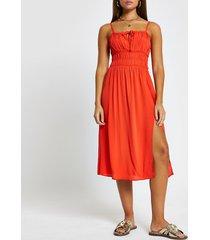 river island womens red spilt front midi beach dress