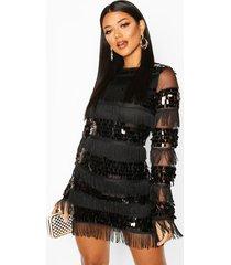 bodycon jurk met pailletten, kwastjes en lange mouwen, zwart