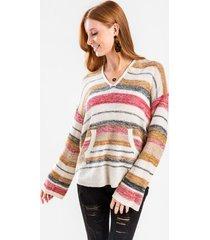 angelette striped kangaroo pocket sweater - multi