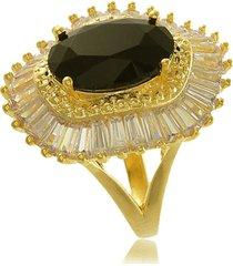 anel ondulado com zircônia preta e micro bolinhas 3rs semijoias dourado