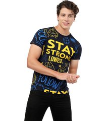 camiseta azul navy manpotsherd stay