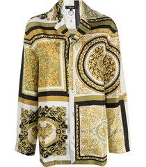 versace baroque-print pajama shirt - yellow