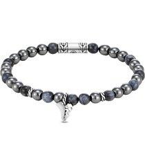 'classic chain' pietersite hematite sterling silver bead bracelet