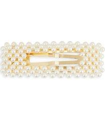 faux pearl & rectangular metal hair clip
