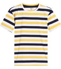 camiseta m/c estampado a rayas color azul, talla xl
