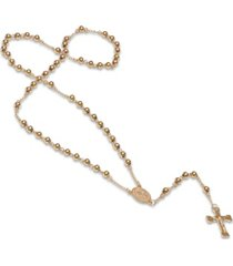 steeltime women's 18k gold plated stainless steel beaded classic rosary necklace