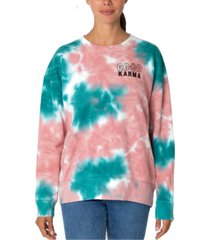 rebellious one juniors' tie-dyed good karma graphic sweatshirt