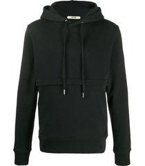 zilver zip-cut casual hoodie - black