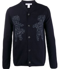 comme des garçons shirt intarsia knit cardigan - blue