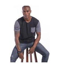 camiseta manga curta étnico off masculina