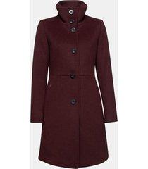 abrigo mujer cuello alto con lana burdeo esprit