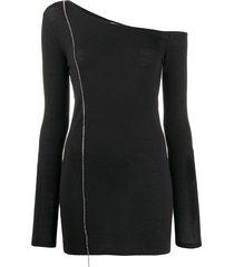 nº21 crystal-embellished one-shoulder jumper - black