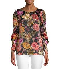 kobi halperin women's hailee floral blouse - black multi - size m