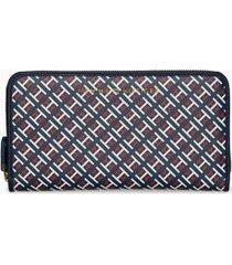 tommy hilfiger women's large h wallet navy/all over flag logo -