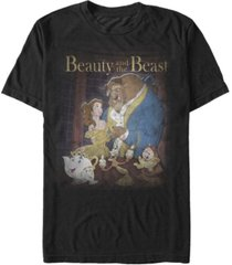 disney men's beauty and the beast distressed vintage group shot short sleeve t-shirt