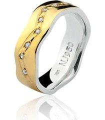 aliança mista ouro 18k e prata 925 elegance natalia joias alm-190