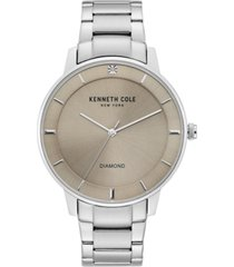 kenneth cole new york men's diamond-accent stainless steel bracelet watch 43mm