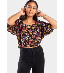deloris floral blouse - black