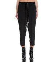 rick owens drawstring pants in black synthetic fibers
