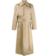 raf simons charm long trench coat - neutrals