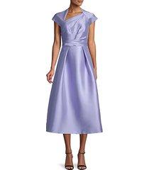 draped-bodice tea-length dress