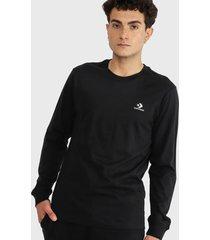 polera converse embroidered star chevron long sleeve t-shirt negro - calce regular