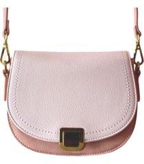bolsa feminina transversal bicolor caiena rosa - rosa - feminino - dafiti