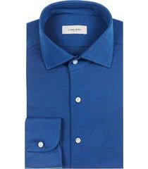 camicia da uomo su misura, maglificio maggia, blu elettrico piquet cotone, quattro stagioni   lanieri