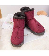stitching warm lining slip on stivali invernali alla caviglia in pelle scamosciata