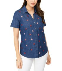 karen scott plus size embroidered-front collared shirt, created for macy's