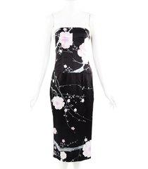 tom ford floral print black silk strapless dress black/multicolor/floral print sz: s