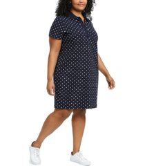 tommy hilfiger plus size polka-dot polo dress