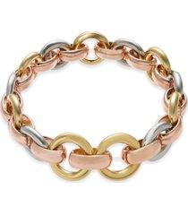 alfani tri-tone hoop link stretch bracelet, created for macy's